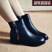 Elevator autumn and winter genuine leather boots female fashion women's shoes boots flat heel martin boots snow boots cotton