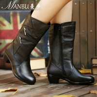 Genuine leather medium-leg boots women's shoes boots 42 plus size Large 40 - 41 - 43 autumn and winter boots 4043