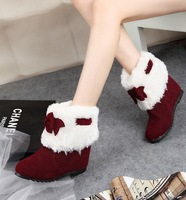 2013 autumn and winter sweet bow flat boots female snow boots fur boots elevator boots women's shoes