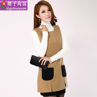 2013 women's fashion plus size sleeveless vest slim woolen dress vest one-piece dress