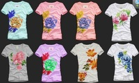 2013 hotsell round collar flower short sleeves women tee top T shirt women shorts tops