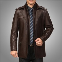 Free Shipping hot !2013 New Men's Thick Winter Coat Slim Leather Stand collar leisure Warm Sheep skin Leather Jacket Size: M-4XL