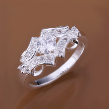 Low Price! Wholesale 925 Silver Plated Inlaid Stone Belt Ring , Fashion Jewelry Classic Free shipping R146