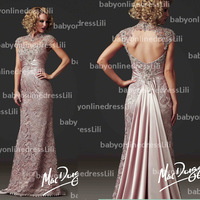 New arrival prom dresses 2014 high neck see though lace backless long evening dress evening gowns 80168D