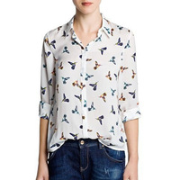 New Fashion Women's Elegant Long Sleeve Lapel Shirts with Colored Birds Animal Print Slim Casual Ladies Loose Blouses Tops