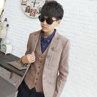 High quality fashion male slim suit deerskin velvet elegant male suit outerwear male casual top male suit