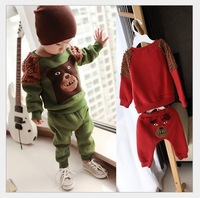 kits set Children Suit Baby Boys Girls Christmas gifts  Teddy Bear dress Pants Set Child  jacket  thicking  Clothings 2pieces