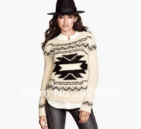jacquard sweater woman autumn winter fashion 2013 vintage european style geometric knitted sweater  long sleeve  pullover