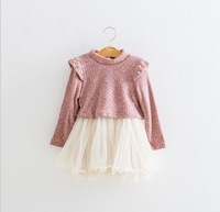 free shipping!high quality girls tutu lace dress,long sleeve girls knitted dress with fleece,children party dress