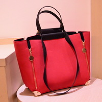 women leather shoulder bags new 2013 fashionable zipper decoration ladies PU handbags female rivet casual purse black red