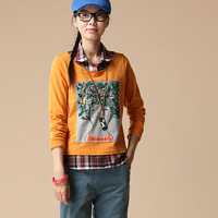 Autumn and winter colorant match t-shirt head portrait pattern faux two piece t-shirt female t216