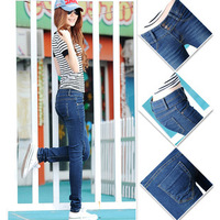 Free Shipping 2013 New Mid Waist Women Jeans slim fit three buttons Pencil pants trousers Korean trend of  female Feet pants