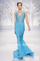 High Quality New Sexy Mermaid Blue Chiffon Beaded Formal Evening Dresses Prom Dress Custom Size