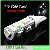 T10 194 5050 7 SMD T10 Strobe Flash Clearance Lights, 12V W5W Car Side Bulbs Marker Light Free Shipping