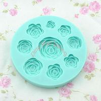 Free shipping 1 set 9 pieces roses shape chocolate silicon mold fondant Cake decoration mold