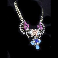 European and American star of the show big fan of colorful flowers pop mash short necklace full 10 yuan shipping
