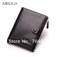Brand Fashion Short Design Men Man's Male Cowhide Men's wallet  Genuine Leather Zipper Wallet Coin Purse for Husband Boyfriend