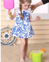 HB332 summer female child print one-piece dress,cool baby dress,wholesale retail,kids short sleeve dress,honey baby
