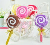 5PCs Cute Lollipop Washcloth Bridal Baby Shower Wedding Party Favor Small Towel
