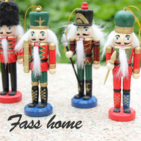 12cm Small nutcracker birthday &christmas wooden gift 6pcs/set