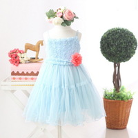 New,girls princess dress,children summer slip dress,stereo rose,a-line,sleeveless,corsage,2-8 yrs,5 pcs / lot,wholesale,0446