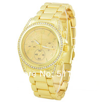 HOT Sell Gold Women Rhinestone Watches,GENEVA Watches,Stainless Steel Strap Dress Wristwatches,Free Drop shipping