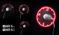 Led clock fan led word fan usb flash fan the casualness usb led fan