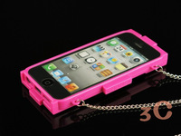 Fashion Brand With CC Logo TPU Case For Iphone5 5G 4 4S With Chain Handbag Purse Soft Case For iphone 4s 5 Free Shipping