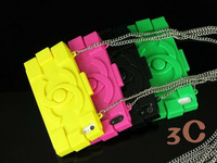 10Pcs/Lot Fashion Brand With CC Logo TPU Case For IphoneWith Chain Handbag Purse Soft Case For iphone 4s 5 Free Shipping
