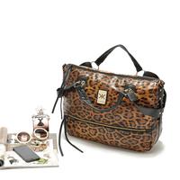 Cattle fashion elegant leopard print monopack portable women's handbag big bag black