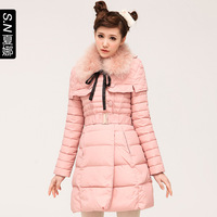 2013 o-neck autumn cape style medium-long slim lacing white duck down coat 0487