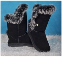 Rabbit fur wdc cowhide wool cow muscle slip-resistant outsole black 1875 gaotong snow boots