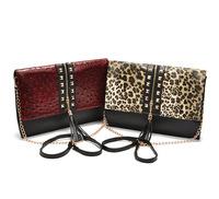 2013 New Rivet Tassel Leopard Printed Clutch,Messenger Bag,Women's Ostrich Shoulder Bag