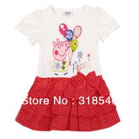 Free shipping 5pcs/lot  children clothing girls dot floral summer character dress baby girls dress w/ Peppa pig 1-6years