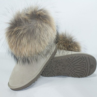 Wdc fox fur cow muscle slip-resistant outsole 5854 snow boots