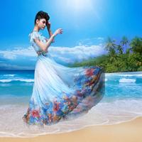 Flower summer bohemia full maxi dress chiffon vintage novelty slim print navy blue ruffle sweet beach party dress plus size