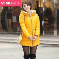 Autumn and winter women down coat medium-long slim waist plus size with a hood PU down coat