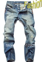 Fashion Jeans Blue Hole Grinding white slim jeans man a real buy Free Shipping 28-40 Plus Size