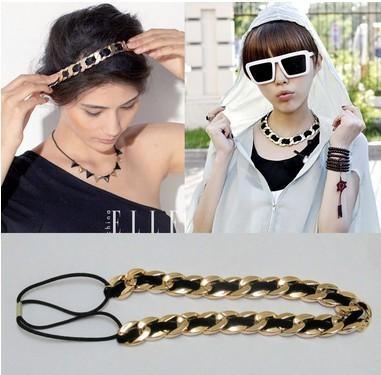Freeshipping wholesale fashion golden plastic chian velvet elastic headband necklace hairband hair accessory 12pc/lot(China (Mainland))