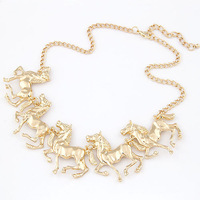 2014 New Design Jewelry Gold / Silver Alloy Horse Charm Statement necklaces & pendants Collier Chunky Bijouterie Gift items