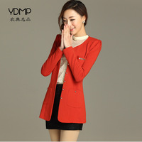 Knitted blazer outerwear women's long-sleeve plus size autumn all-match slim medium-long suit o-neck ol