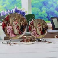 Free shipping, Royal figure oil painting fashion bone china dinnerware set ceramic plate gift furniture