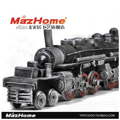 Steam train toy big car model handmade crafts decoration gift souvenir(China (Mainland))