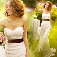 Royal princess bride royal lace fish tail train wedding dress formal dress slim wedding dress 2014