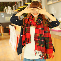 free shipping new 2013 fashion warm  plaid Preppy style british style red woolen winter thick dual autumn and winter scarf w2