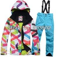 2014 womens ski suit  snowboarding suit ladies snow suit skiwear sportswear 1 set jacket +blue pants high quality ship by EMS