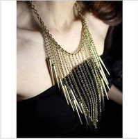 Min.order is $15 (mix order) European and American exaggerated tassels rivet necklace