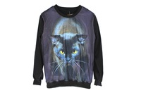 2013 Fashion New women's 3D hoodies Sweatshirt K2 Black Cat Pullover Ourwear