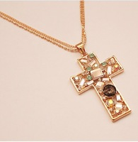 Min.order is $15 (mix order) New fashion crystal sweater chain long han edition cross necklace free shipping