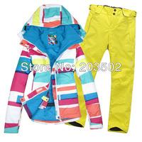 2014 womens ski suit snow snowboarding suit ski ensemble ladies skiwear one set colorful strip jacket + yellow pants ship by EMS